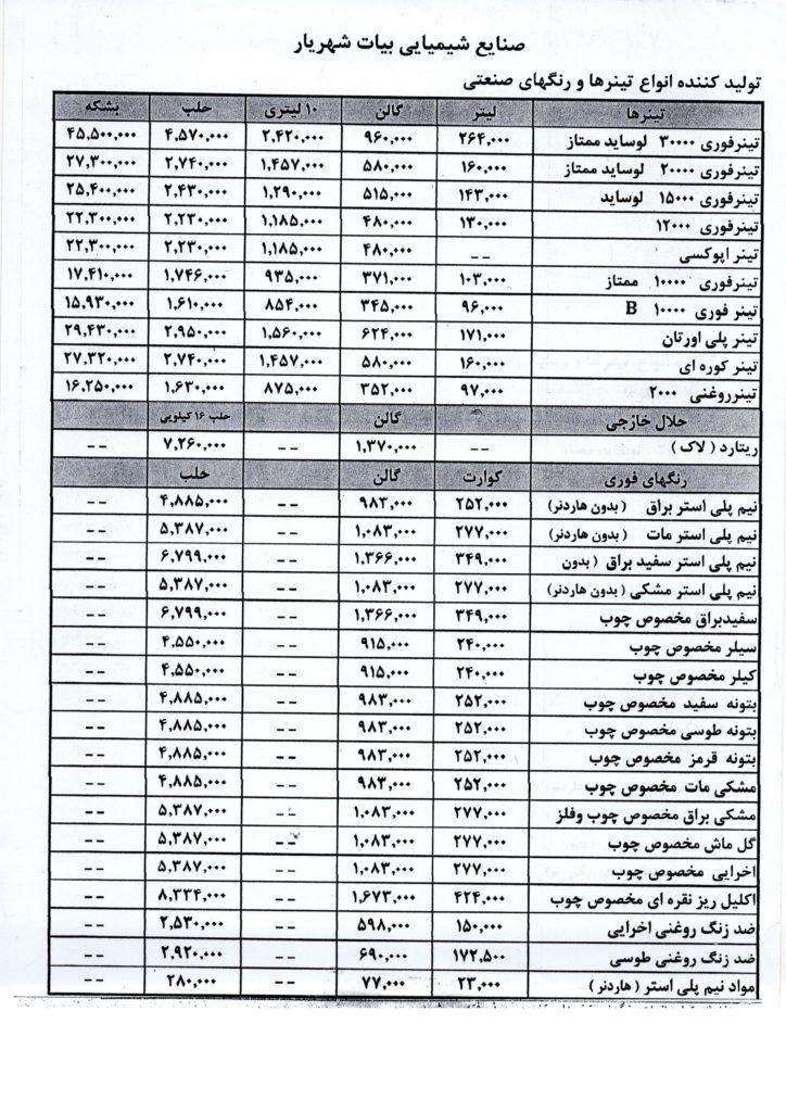 بیات شهریار جدید 724x1024 - لیست قیمت و کاتالوگ محصولات صنایع شیمیایی تینر بیات