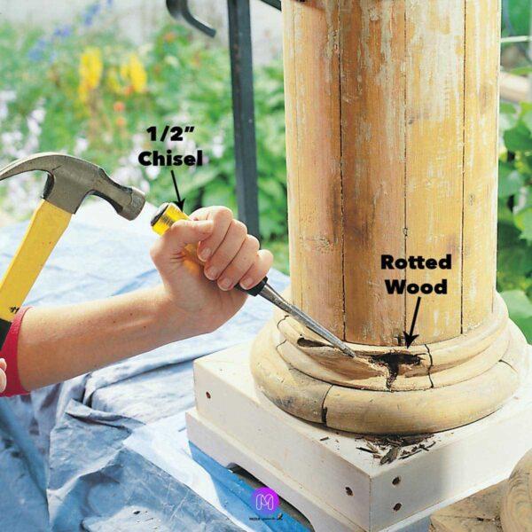 برداشتن پوسیدگی برای شروع اپوکسی 600x600 - نحوه استفاده از اپوکسی بر روی چوب برای تعمیرات