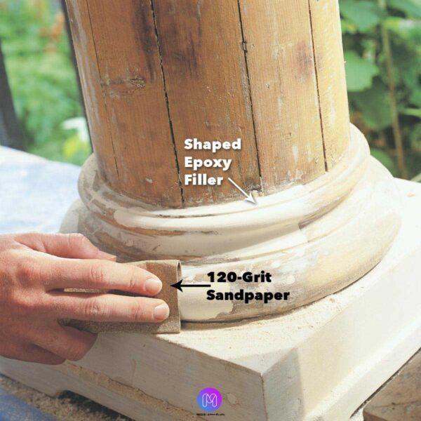 سنباده کشی اپوکسی 600x600 - نحوه استفاده از اپوکسی بر روی چوب برای تعمیرات