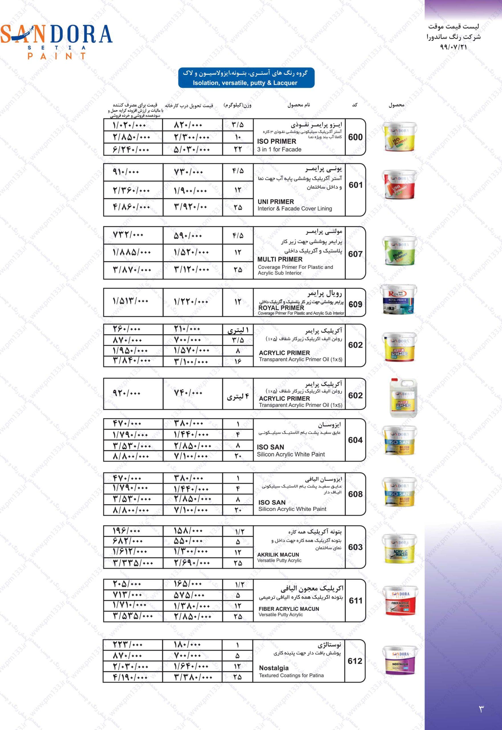 ساندورا لیست قیمت رنگ ساندورا21-07-99 صفحه سوم