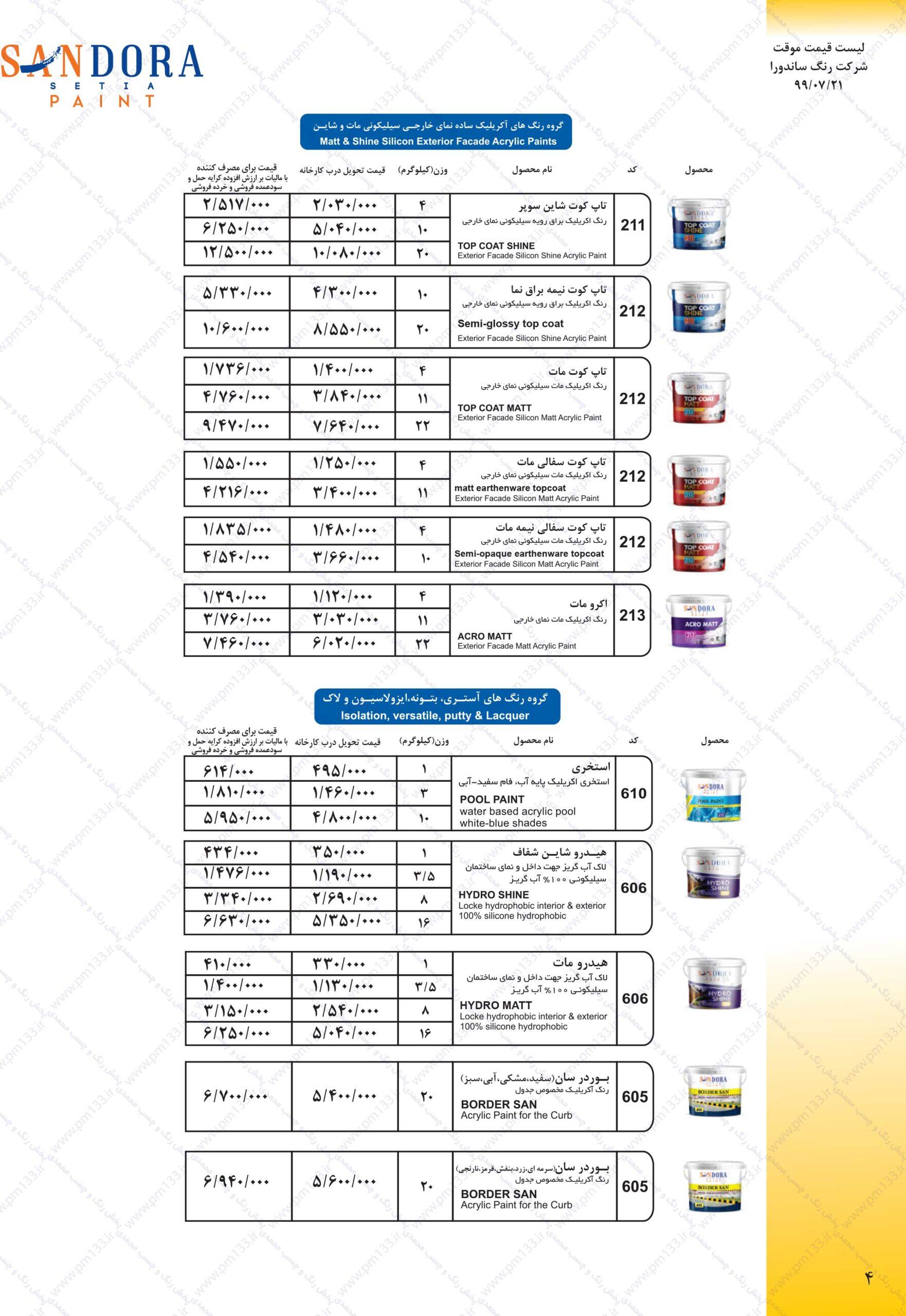 ساندورا لیست قیمت رنگ ساندورا21-07-99 صفحه چهارم