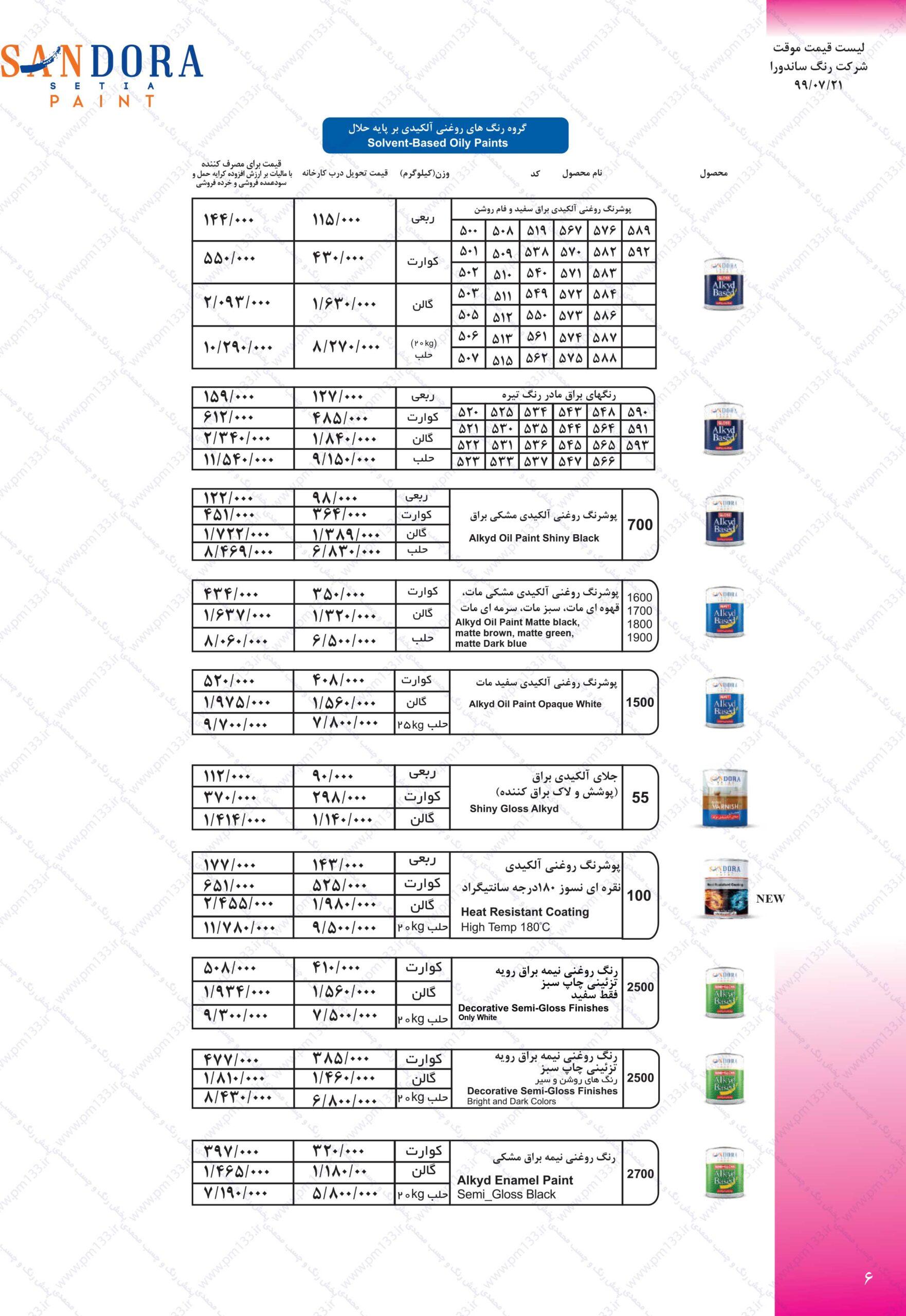 ساندورا لیست قیمت رنگ ساندورا21-07-99 صفحه ششم