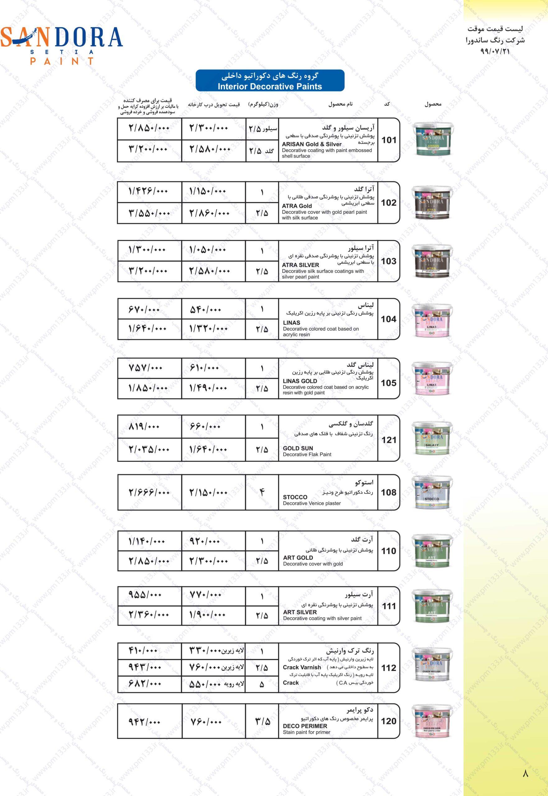 ساندورا لیست قیمت رنگ ساندورا21-07-99 صفحه هشتم