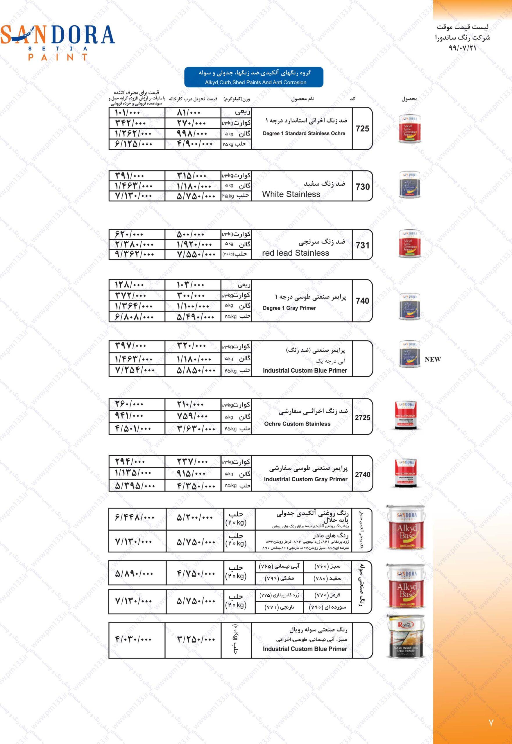 ساندورا لیست قیمت رنگ ساندورا21-07-99 صفحه هفتم