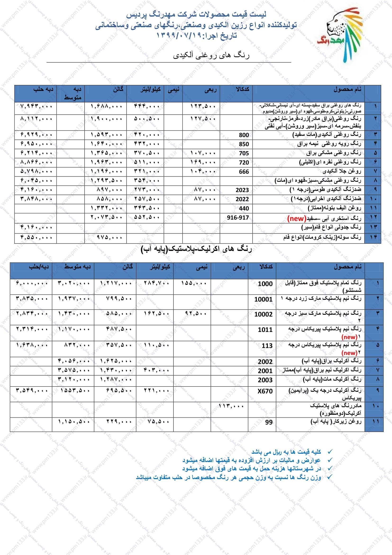 مهدرنگ پردیس لیست قیمت رنگ و رزین مهد رنگ پردیس