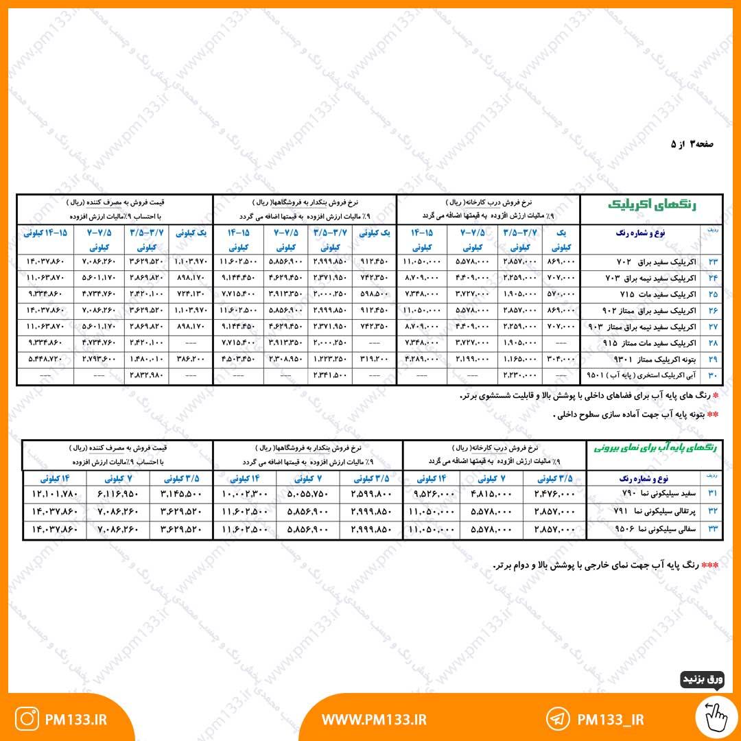 لیست قیمت رنگ سحر 12-02-1400 صفحه 3