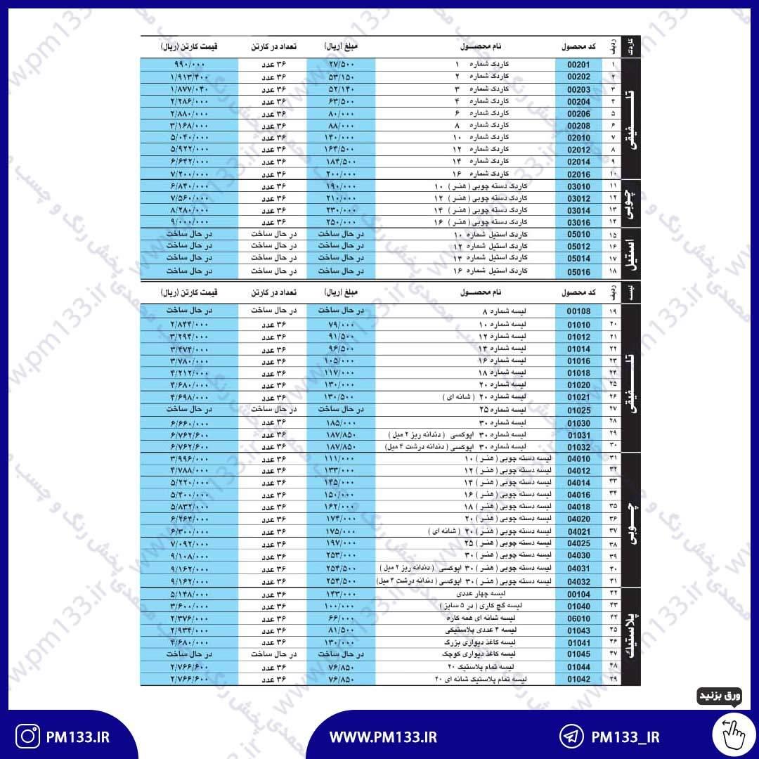 لیست قیمت لیسه و کاردک پارس روور