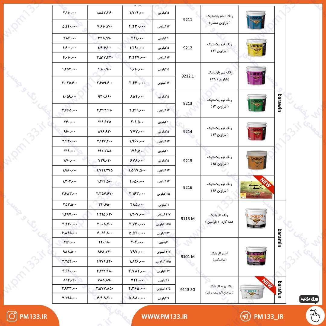 لیست قیمت رنگ باراد 4-02-1400 صفحه 1