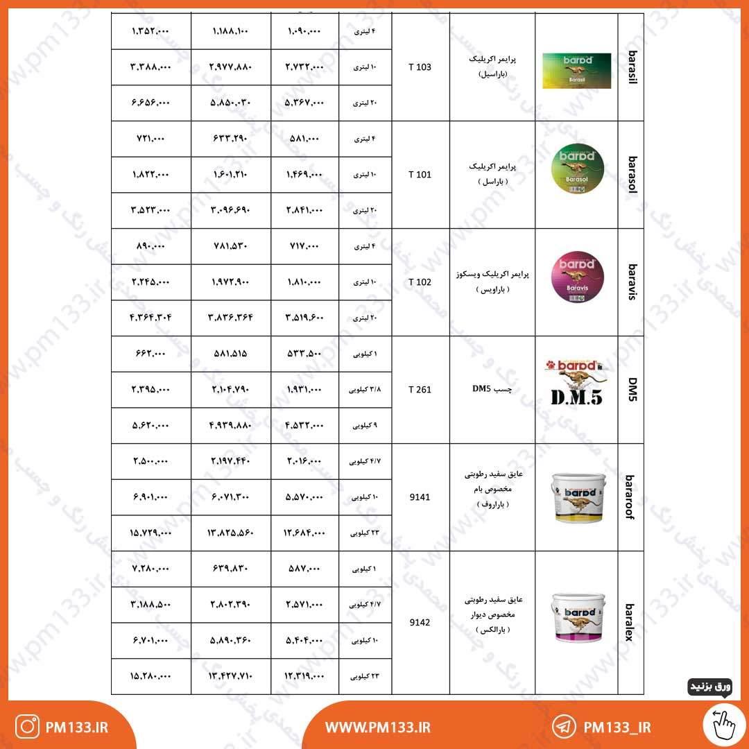 لیست قیمت رنگ باراد 4-02-1400 صفحه 2