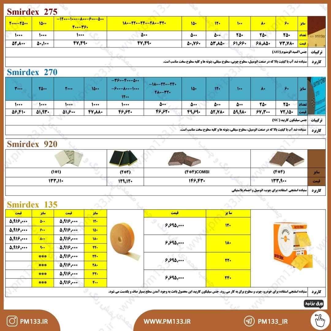 لیست قیمت سنباده اسمیردکس 20-11-99