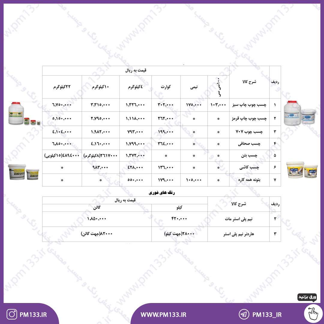 لیست قیمت چسب های آق رنگ 20-02-1400