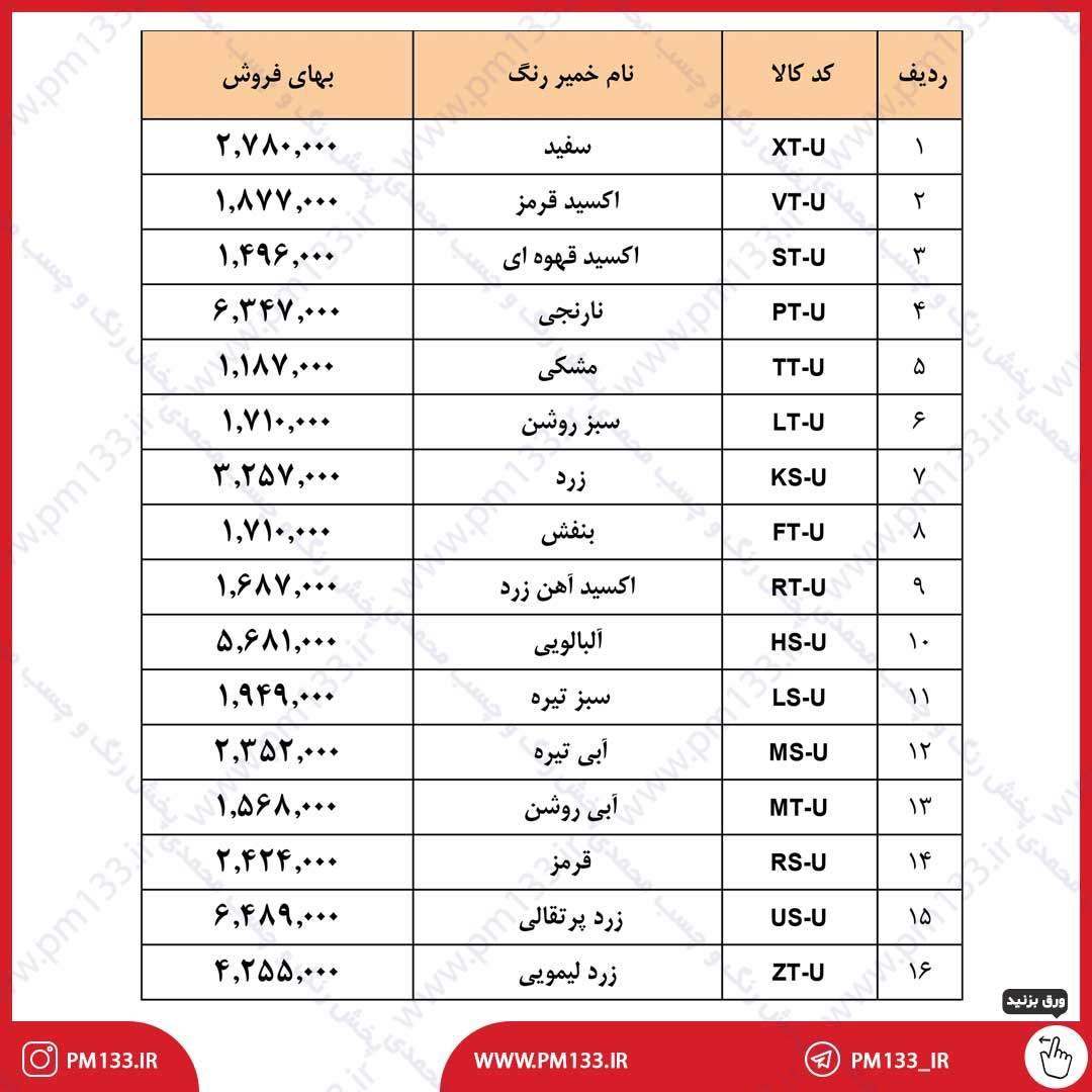 لیست قیمت خمیر رنگ رنگسازی ایران و نیپون 12-02-1400