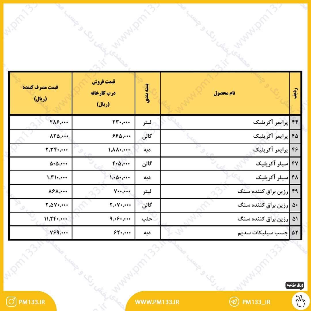 لیست قیمت رزین گل 13-03-1400 صفحه 2