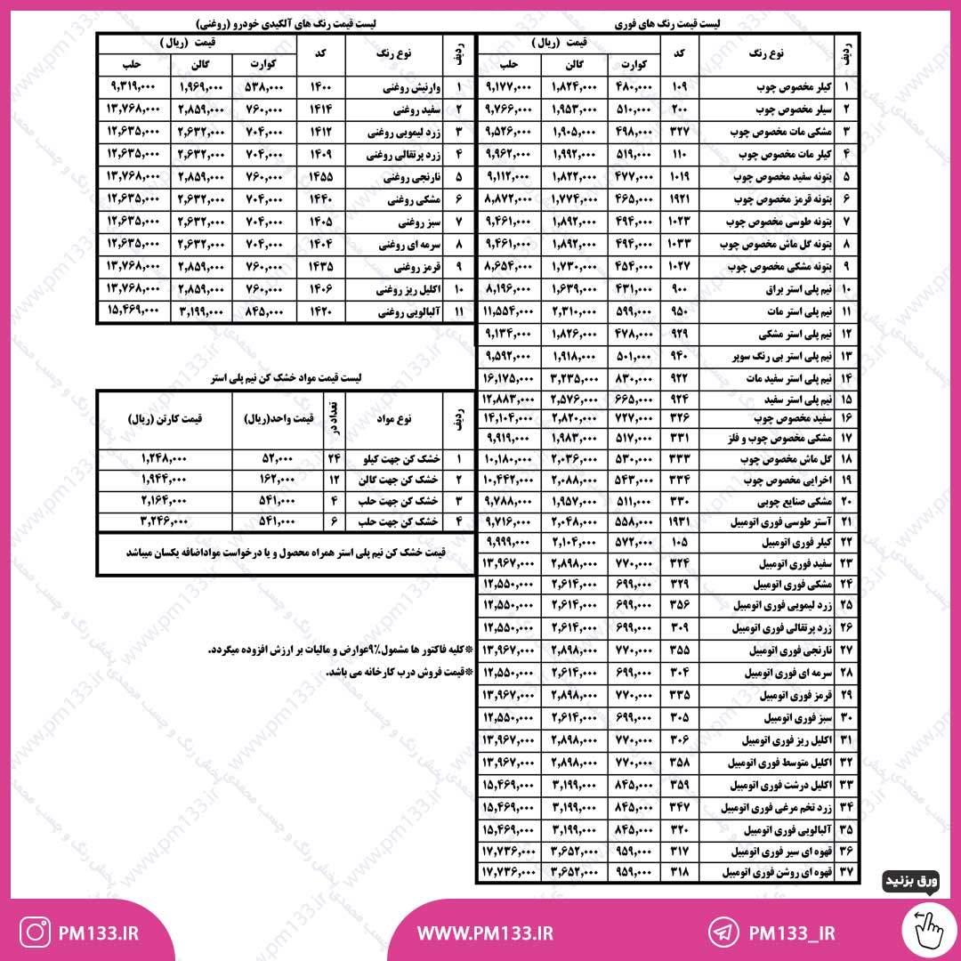 لیست قیمت پارس اشن 1400-04-01