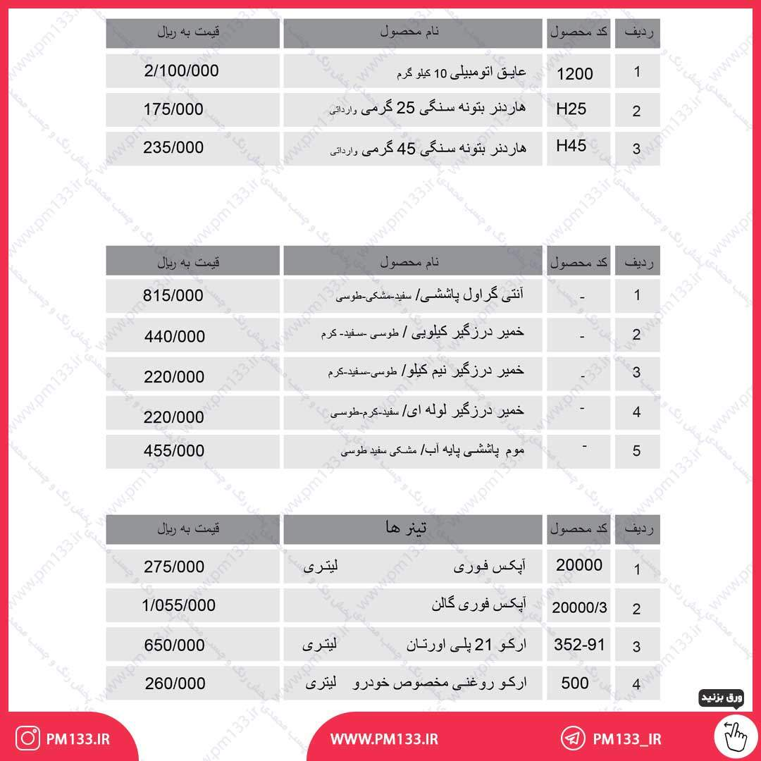 لیست قیمت عایق اتومبیلی آرکو 20-04-1400