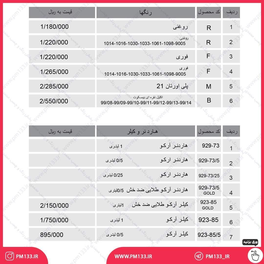 لیست قیمت هادرنر و کیلر آرکو 20-04-1400