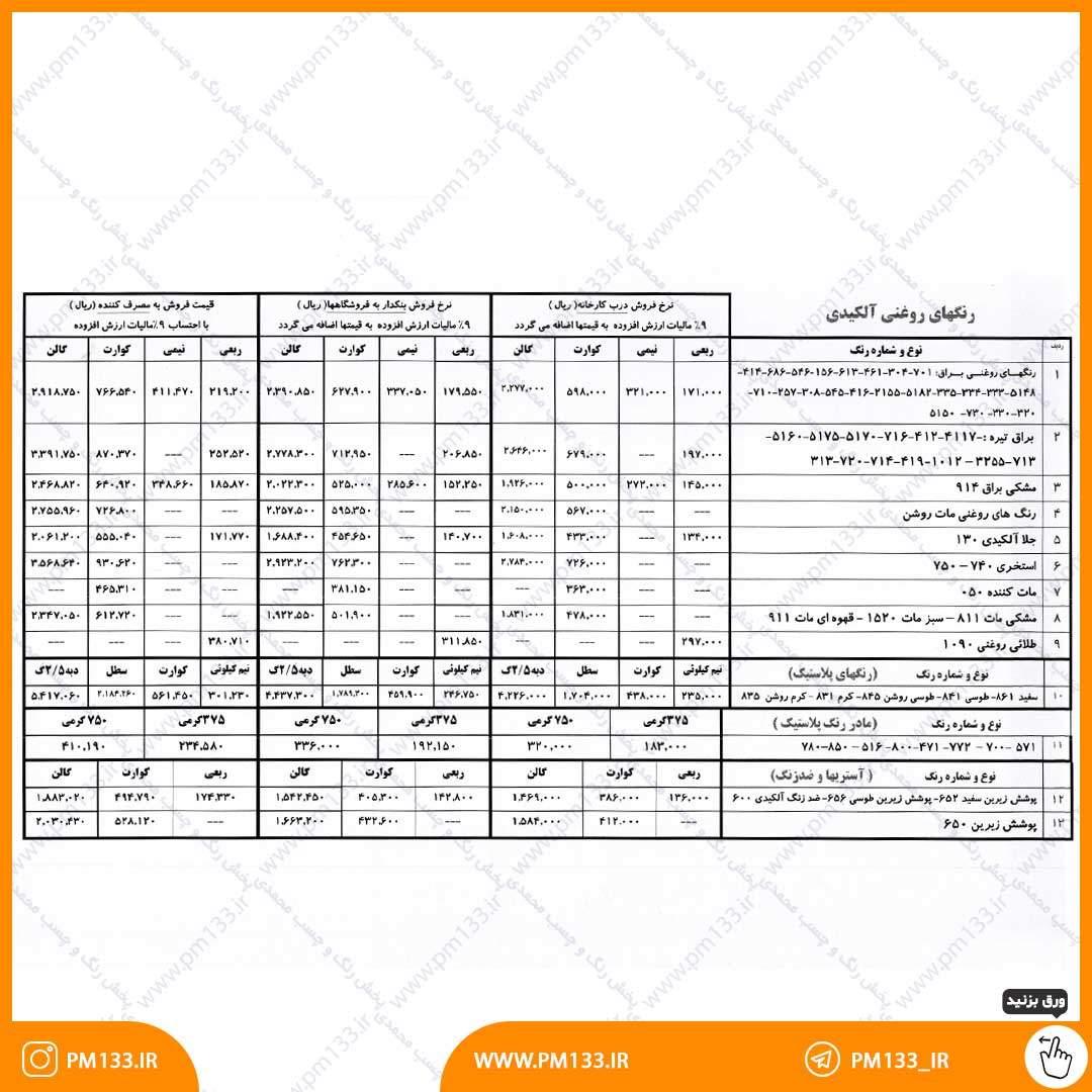 لیست قیمت رنگ سحر 15-06-1400 صفحه اول